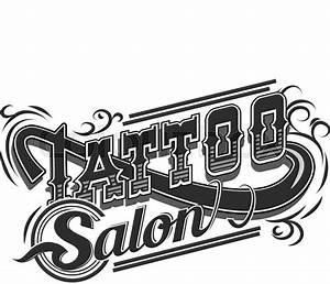 Vector Tattoo Salon Logo On White Background  Cool Retro