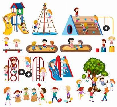 Playground Children Vector Climbing Tree Illustration Vectors