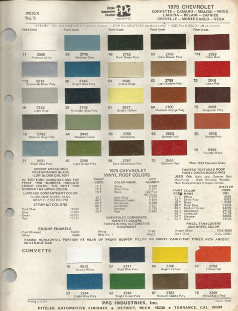 color chart for chevy camaro autos post