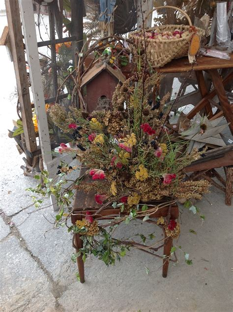 Upcycled Decorated Chair Dried Flowers Arrangement