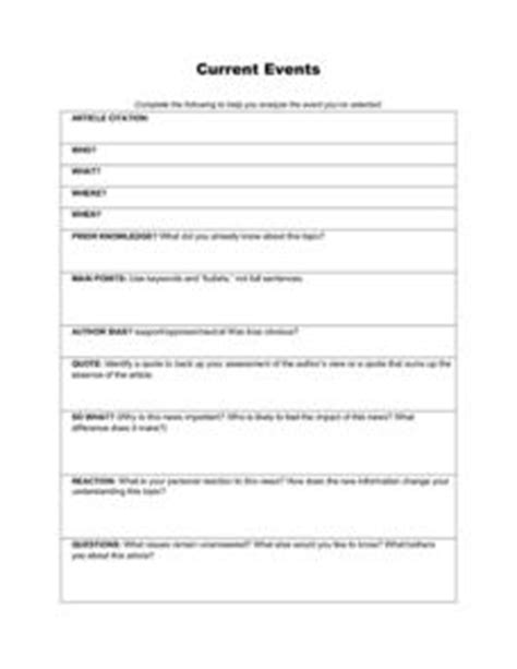 Current Events Organizer 5th  12th Grade Worksheet  Lesson Planet