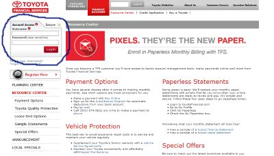 Toyota Financial Payment Login by How To Log In To Toyota Financial Services