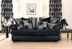 Classy looking living room without the horse head using for Black furniture slipcovers