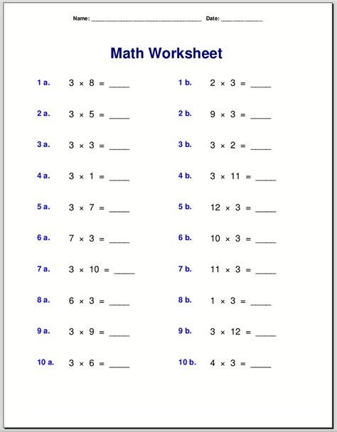 times table worksheets  print activity shelter