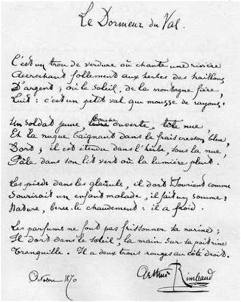 Le Dormeur Du Val Rimbaud Texte by Z 201 P H Y R Le Dormeur Du Val Et Le D 233 Serteur