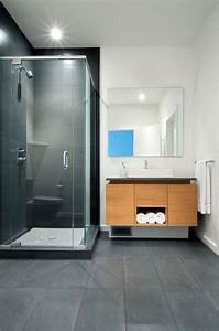 carrelage salle de bain grise et bois en 37 idees de deco With salle de bain en gris
