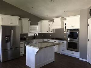 Grey, Walls, With, White, Kitchen, Cabinets, And, Oil, Rubbed, Bronze, Handles