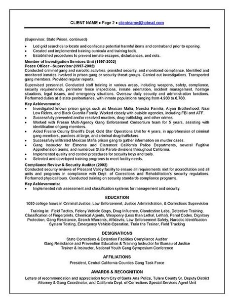 corrections officer resume exle