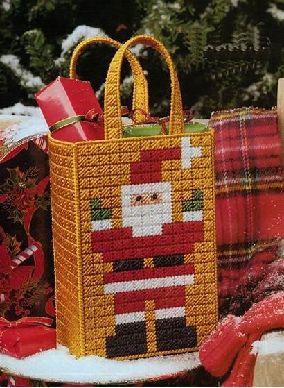 Canvas Plastic Pattern Tote Santa Mosaic Bag