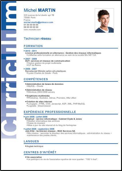 Cv Curriculum Vitae Gratuit by 53 Meilleur De Modele Curriculum Vitae Gratuit