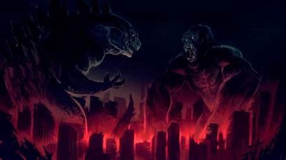 Godzilla Kong King Artwork God Wallpapers Background