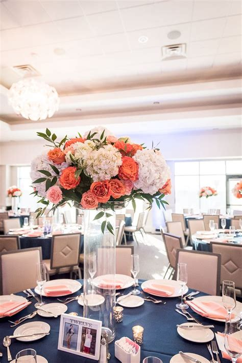 Coral Rose and White Hydrangea Centerpiece Coral wedding