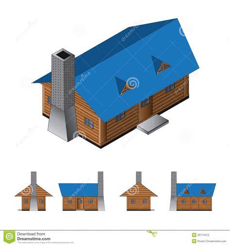isometric log cabin stock photography image