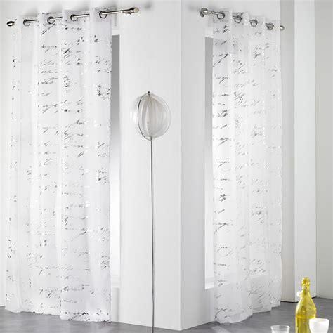 voilage 140 x h240 cm courrier blanc voilage eminza