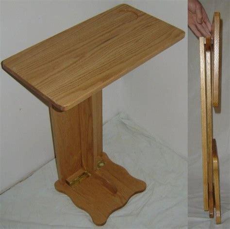 hand   solid oak wood folding sofa server tv rv snack tray laptop table  floyds