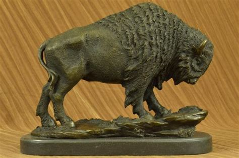 American Buffalo Bison Western Artwork Bronze Marble