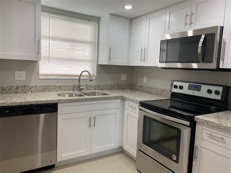 small kitchen remodel with white shaker cabinets miami