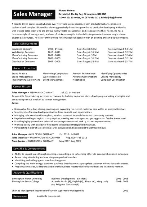 resume sles in english word sales manager cv sle for students