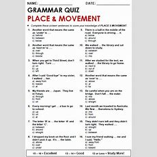 Place And Movement All Things Grammar  English  Pinterest  Prepositions, English And Grammar