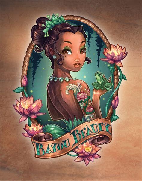 disney princesses  fierce vintage tattooed pin ups