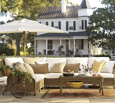 back porch saybrook saybrook all weather wicker sectional set pottery barn