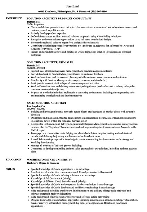 Sle Solution Architect Resume by Sales Solution Architect Resume Sles Velvet