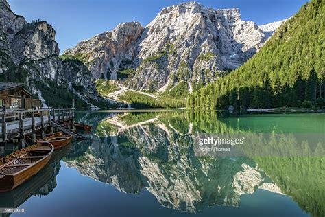 Braies Lake Dolomite Alps South Tyrol Italy Europe Stock