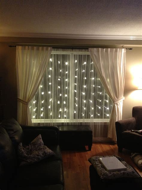Living Room Lighting Ideas Ikea by Great Idea Use Snowflake Lights Sheer Curtains To