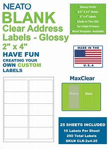 Neato clear address labels 2quot x 4quot 250 labels glossy for 2x4 clear labels