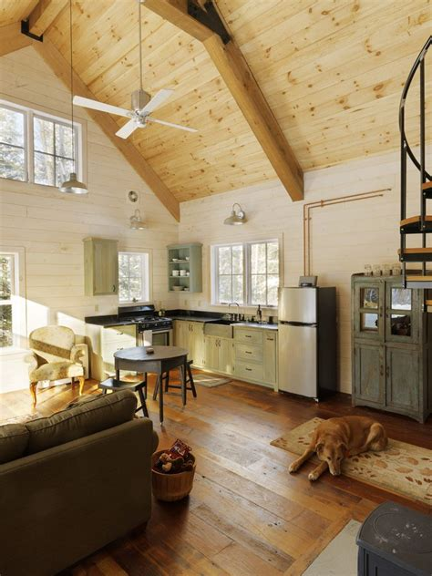 sparkling dog trot cabin  wood wall vaulted ceiling