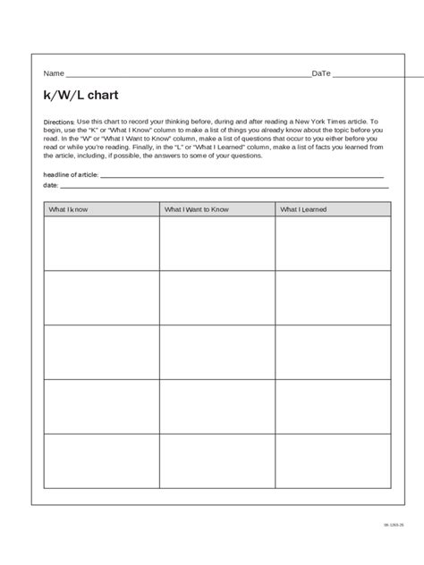 kwl chart fillable printable  forms handypdf