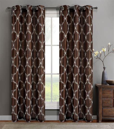 single gael chocolate faux silk window curtain panels w