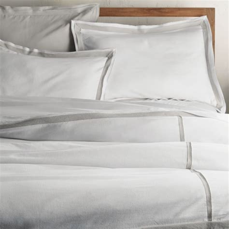Bianca White/Grey Full/Queen Duvet Cover   Crate and Barrel