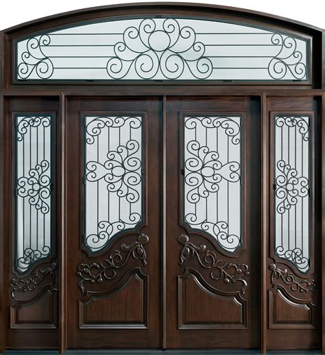 outstanding home fiberglass entry door with arched style and sidelights added scroll wrought