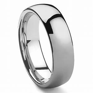 HAMON Tungsten Carbide Men39s Plain Dome Wedding Band