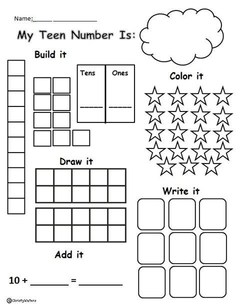 Worksheet To Practice Teen Numbers Using Math Box Strategies