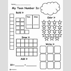 Worksheet To Practice Teen Numbers Using Math Box Strategies