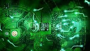 green computer circuit board background loop: Royalty-free ...