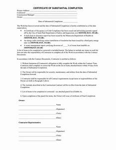 Certificate of substantial completion in word and pdf formats for Certificate of substantial completion template
