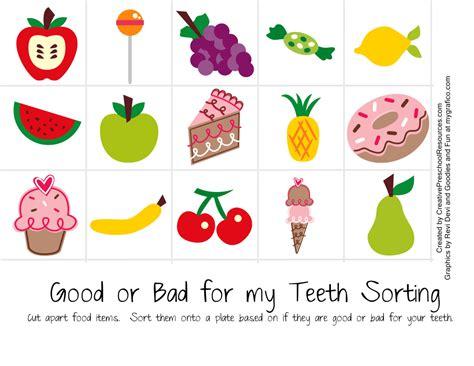 dental health creative preschool resources 415 | good or bad for my teeth page 001