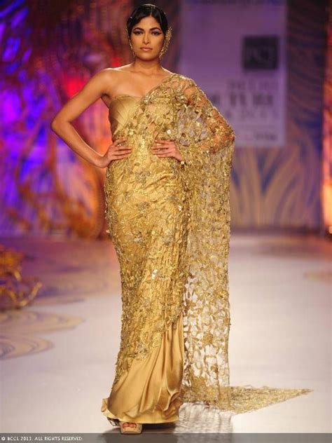 And Gold Sari gold lace sari by gaurav gupta at delhi couture week 2013