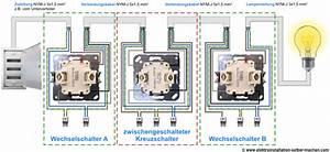 Lichtschalter Mit Kontrollleuchte Schaltplan : kreuzschaltung anschlie en elektroinstallation elektroinstallation selber ~ Buech-reservation.com Haus und Dekorationen
