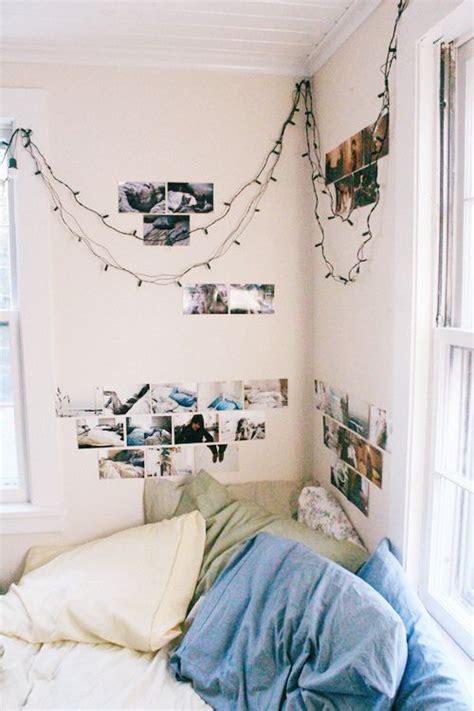 simple teen girl s bedroom corner with twinkle lights