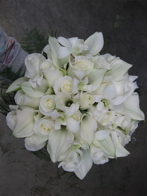 All White Wedding Bouquet Stadium Flowers