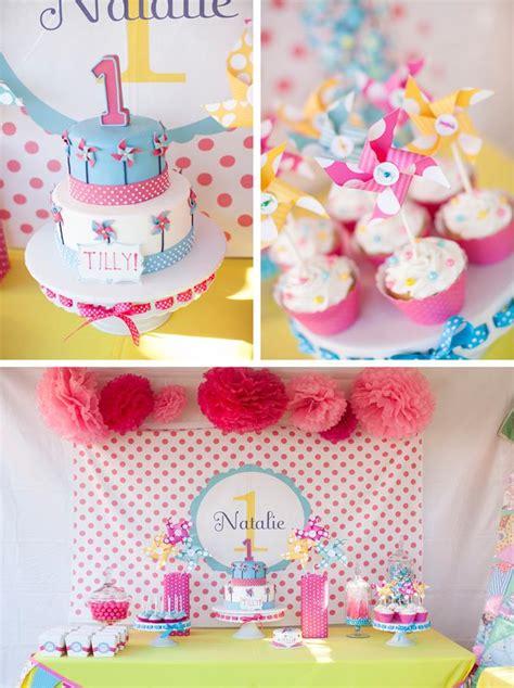 1st birthday kara 39 s party ideas pinwheels and polka dots 1st birthday party with of