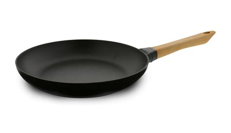 staub matte black traditional cast iron fry pan  wooden handle  cutlery