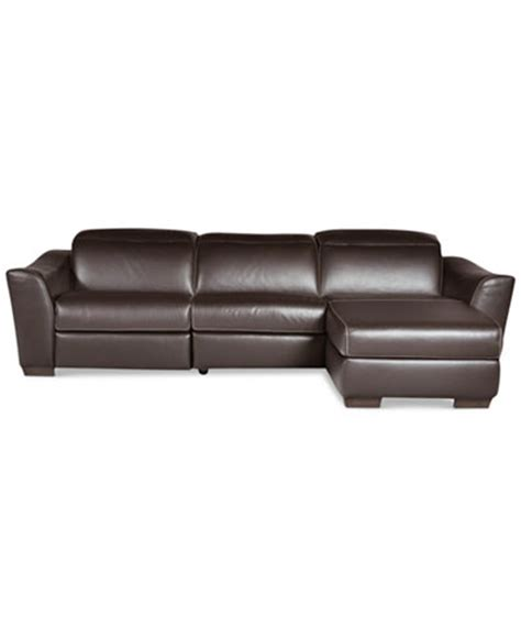 leather reclining sectional with chaise alessandro 3 leather sectional with chaise 1 power