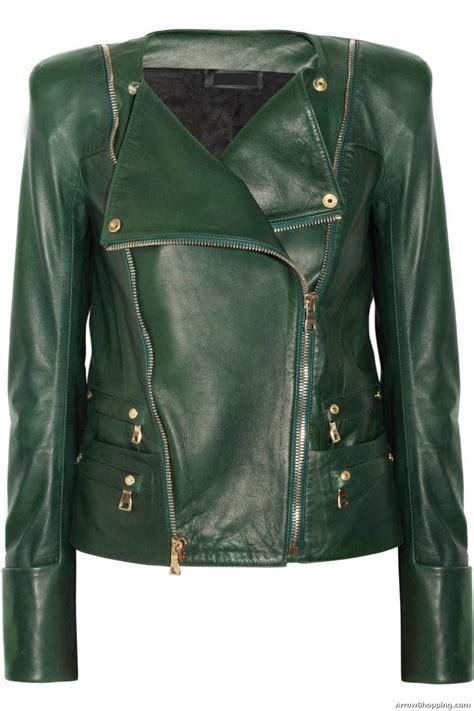 green motorcycle jacket arrow leather jackets women green