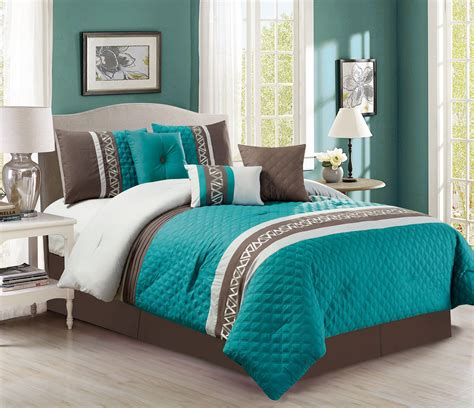 Teal Bedding by 7 Quilted Teal Chocolate Comforter Set