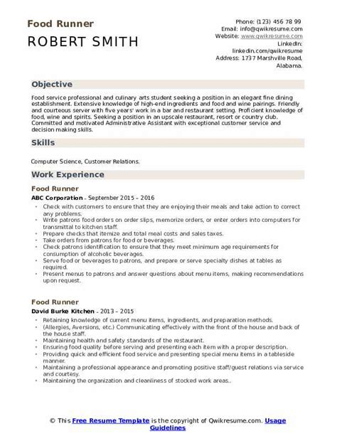 food runner resume samples qwikresume